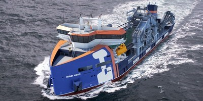Marine Aggregate Dredger 4000 is able to autonomously unload the dry cargo onto shore