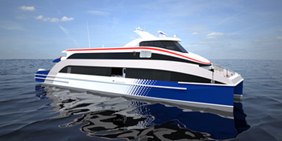 Ferry achieved through low fuel consumption and optimum passenger seat arrangement.