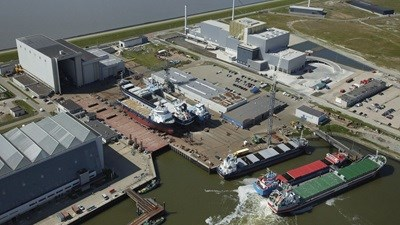 Inland Shipping reair at Damen Shiprepair Harlingen