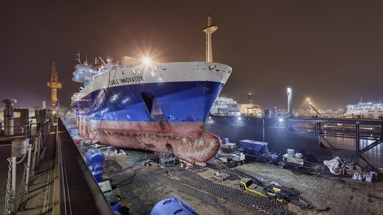 Global Marine Systems Limited's vessel Cable Innovator on Damen Shiprepair Dunkerque