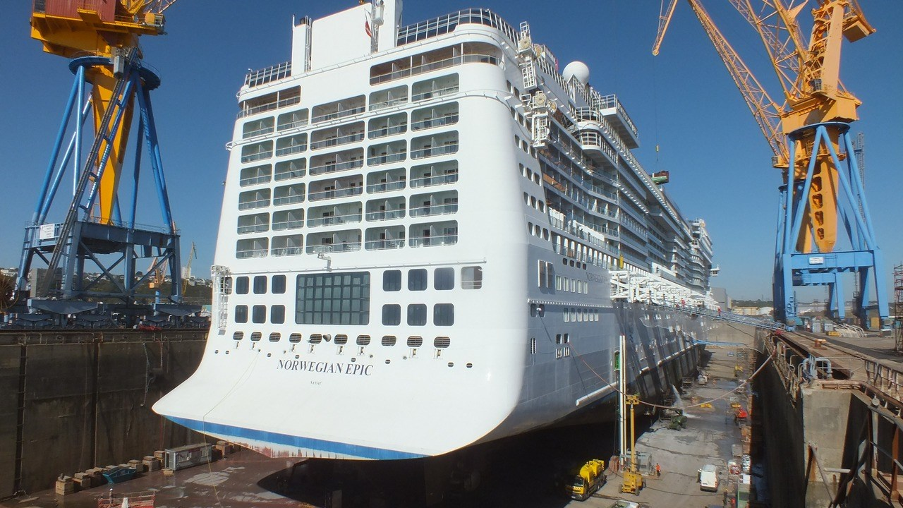 The world's fifth largest cruise ship fitted with room to spare into DSBr's 420-metre drydock.