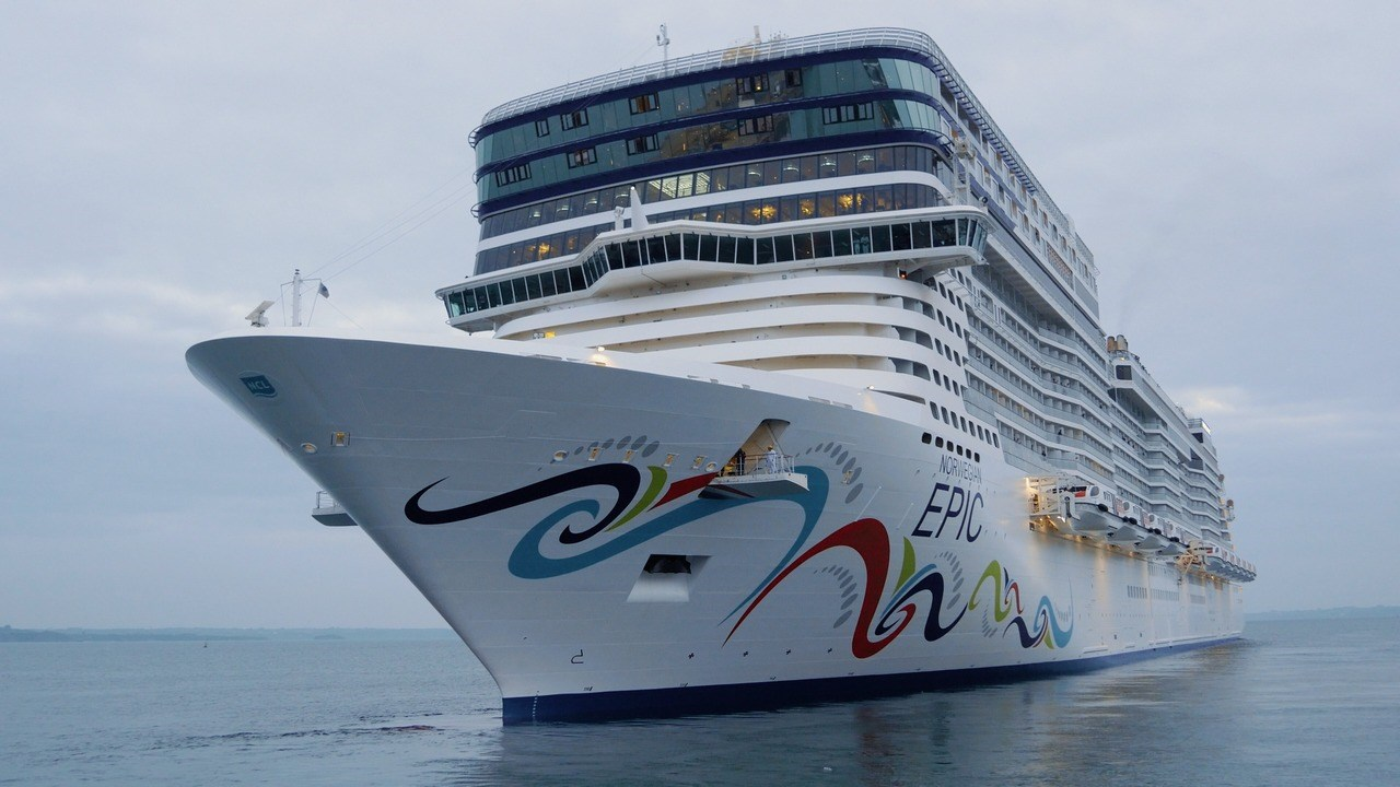 "The 329-metre cruise ship ""Norwegian Epic"" after completing a 3 week maintenance and refit programme."