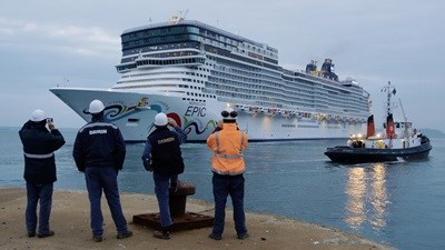 Cruise ship Norwegian Epic after completing a 3 week maintenance and refit programme.