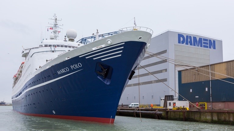 Cruise ship Marco Polo leaves Damen Shiprepair Vlissingen after 10th Special Survey.