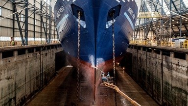 'Marco Polo' has been coming to Vlissingen regularly to dry dock and undergo inspections and maintenance.