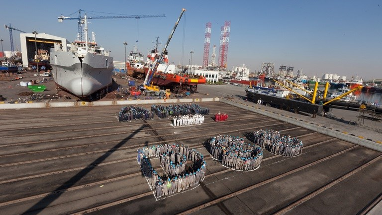 Damen Shipyards Sharjah celebrates its anniversary with a total of 13 vessels being dry-docked simultaneously.