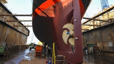 As well as the biennial dry-docking, the works this year include the fitting of new mounts for the engine, the blasting and recoating of the water and waste tanks