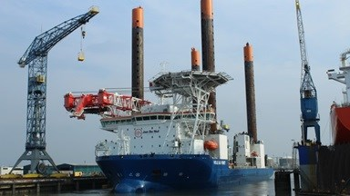 Jack-up vessel 'Vole au vent' came to DSVl for modifications necessary for her second phase on the Nobelwind project