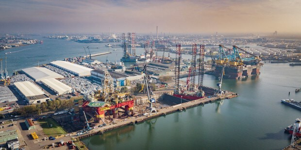 The semi-submersible crane and pipelaying vessel 'Saipem 7000' at Damen Verolme Rotterdam
