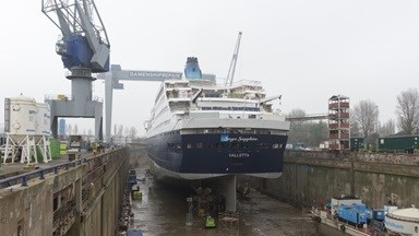 The 199.63 metre cruise vessel has been at Damen Shiprepair Rotterdam for extensive repair and refurbishment works as well as a scheduled Class Survey