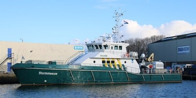 Damen Stan Patrol 'Stormmeeuw' visited Damen Shipyards Den Helder for annual maintenance and repair