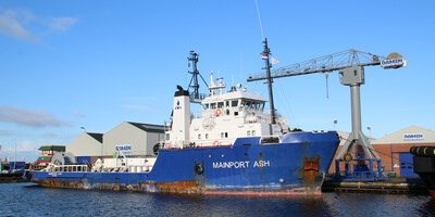 'Mainport Ash' docked at Damen Shipyards Den Helder for a short visit for repairs and modification work