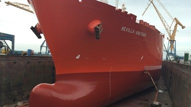 LNG tanker 'Sevilla Knutsen' needed intensive and complex maintenance jobs to be carried out by Damen Shiprepair Brest