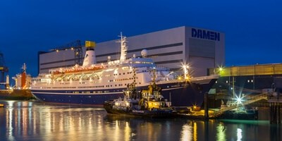 'Marco Polo', a Global Maritime owned cruise ship operated by Cruise and Maritime Voyages, was at Damen Shiprepair Vlissingen