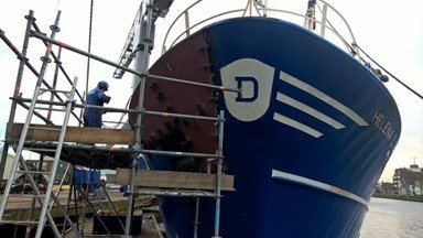 'TX 29 Helena Elizabeth' was at Damen Shipyards Den Helder for repair work following a collision in the North Sea