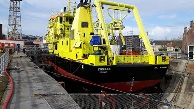 Research vessel 'Zirfaea' arrived at Damen Shipyards Den Helder for annual maintenance and inspections