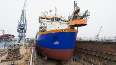 While the vessel was in drydock, her hull was hydro-blasted and new antifouling was applied