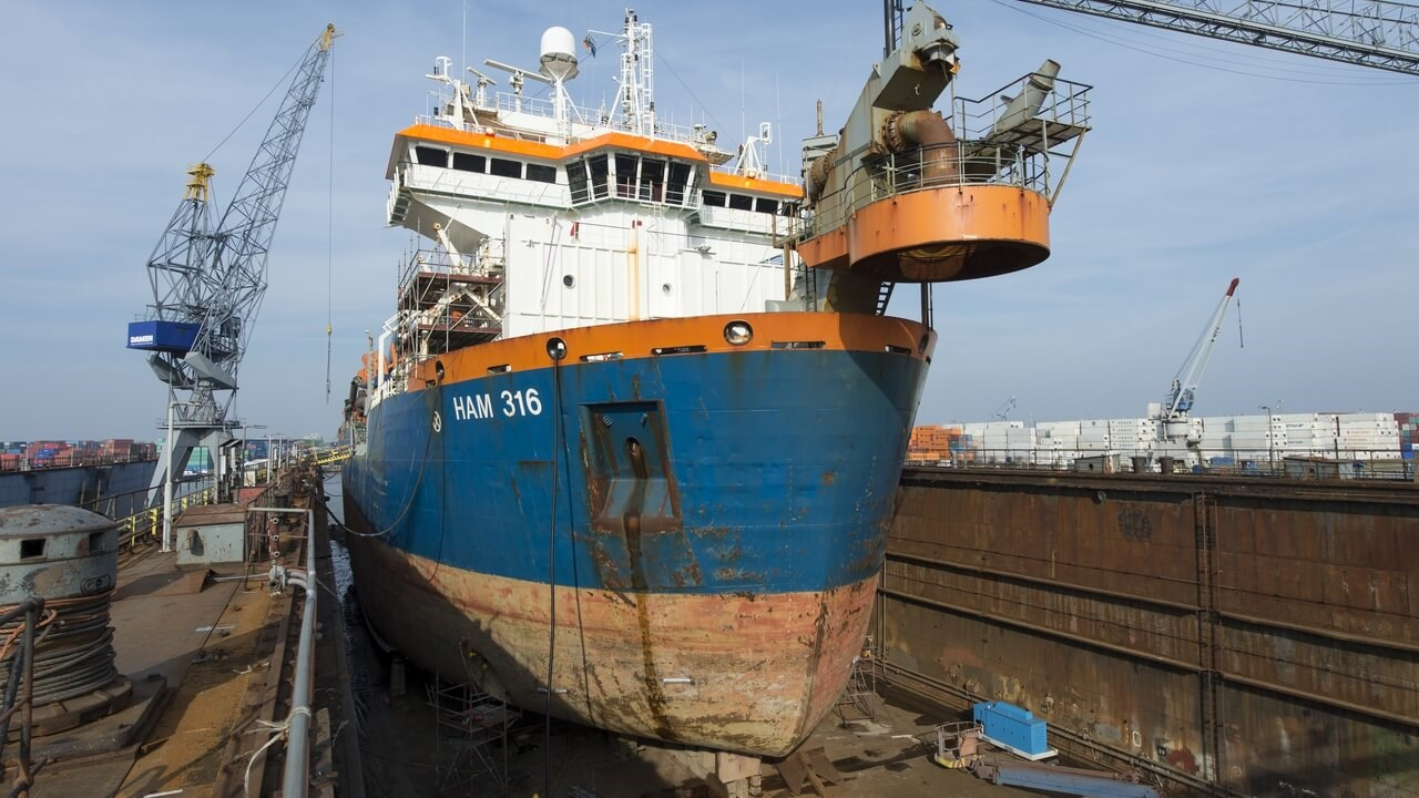Trailing suction hopper dredger 'HAM 316' was docked at Damen Shiprepair Van Brink Rotterdam in March 2016 for repairs and maintenance