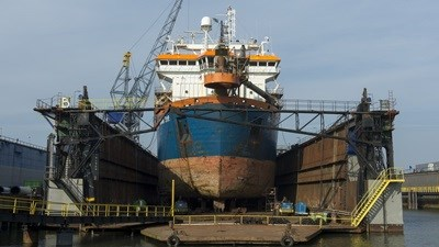 Other work to 'HAM 316' included the overhaul of both the vessel's rudders
