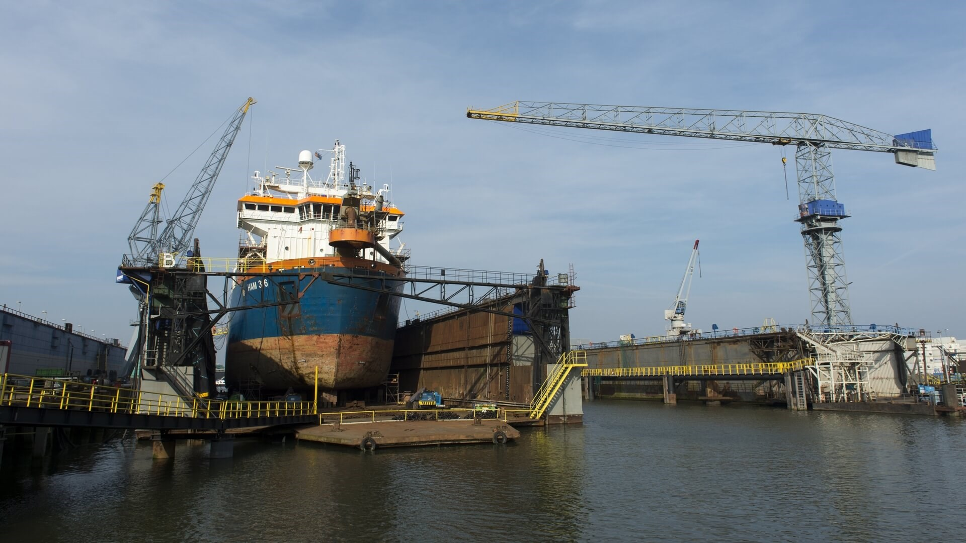 Repair and maintenance for Trailing Suction Hopper Dredger at Damen Shiprepair Van Brink Rotterdam