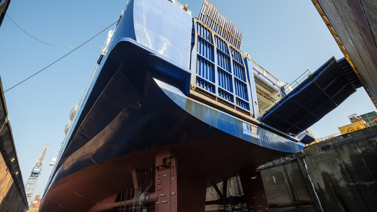 Another major task involved the high-pressure washing, blasting and painting of the Princess Seaways' top deck (number 11)