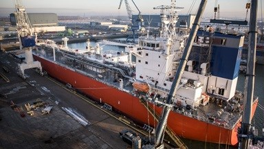 Waasmunster arrived at Damen Shiprepair Vlissingen (DSVl) in January 2017 for the installation of a new open-loop Exhaust Gas Cleaning system ('scrubber')