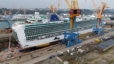 Cruise Ship P&O 'Ventura' Scrubber installation at Damen Shiprepair Brest