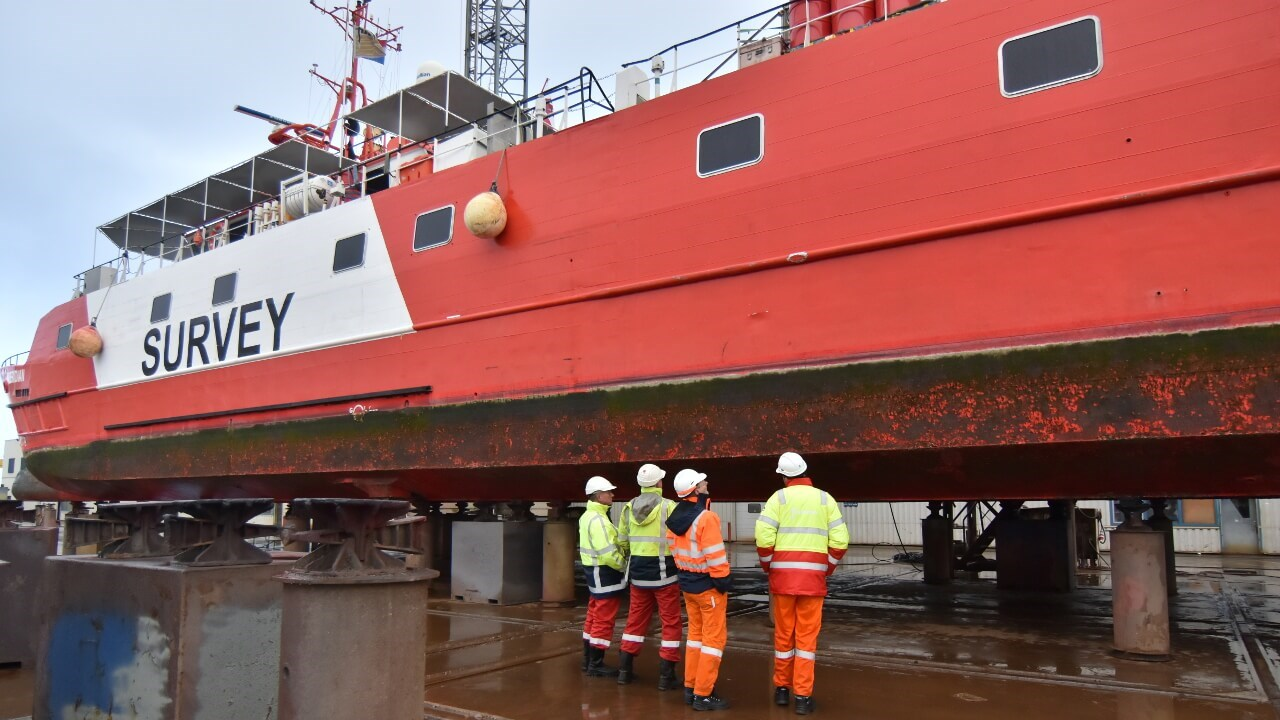 'Fugro Mercator' docking for maintenance and repair works at DSHL