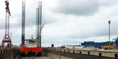 Accommodation jack-up vessel 'GMS Endurance' at Damen Shiprepair Dunkerque (DSDu)