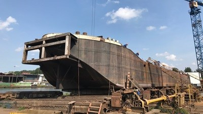 Sand barge 'Kreeft', owned by Boskalis Nederland, spent three months at Damen Shiprepair Oranjewerf undergoing major works in preparation for her next project.