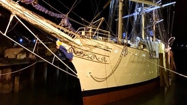 Fully-rigged sailing ship 'Christian Radich' repair