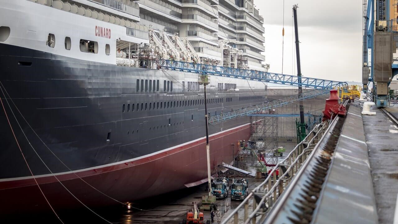 On arrival the 294-metre long, 32-metre beam ship was placed in Damen Shiprepair Brest's drydock number 3, one of the largest in Europe at 420 metres by 80-metres.