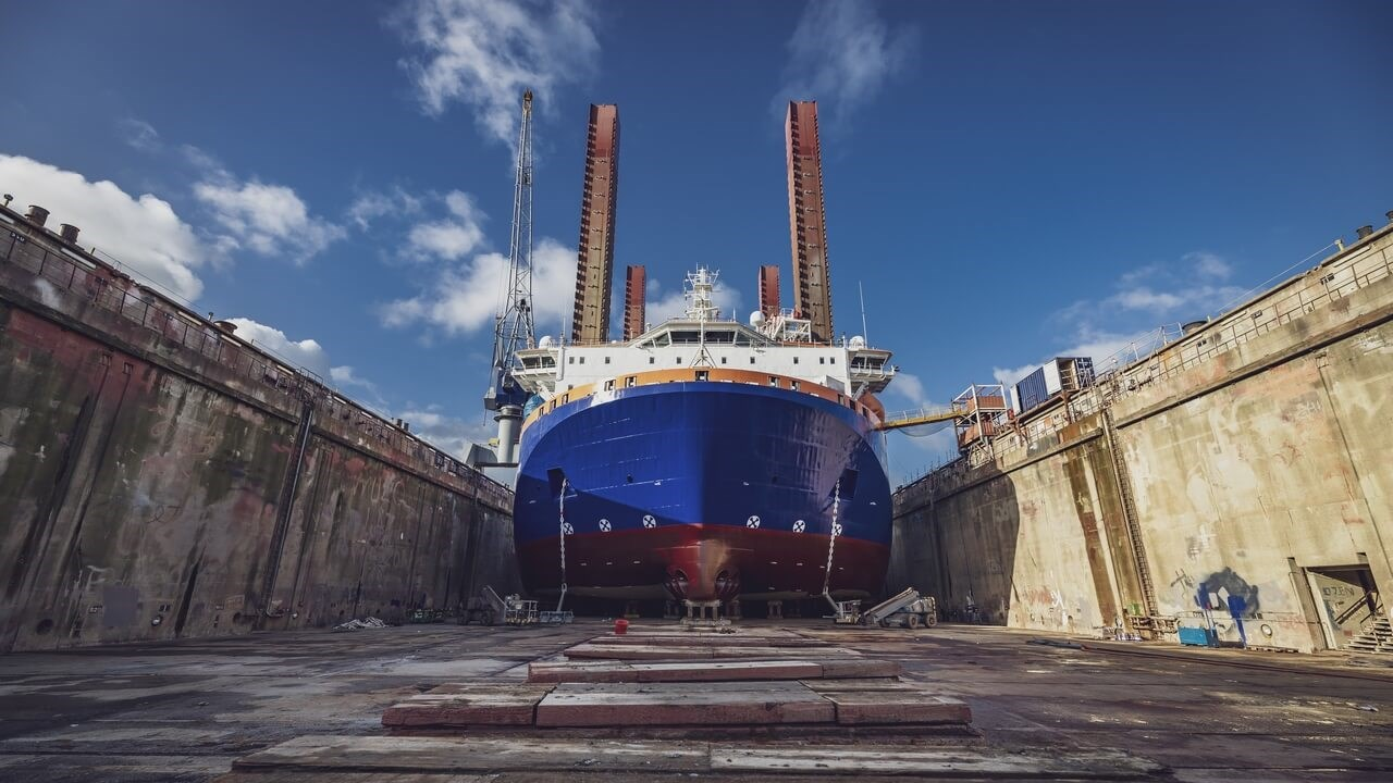 The 130m by 38m MPI Resolution went into dry dock for an overhaul of her thrusters and steel repairs to the hull.