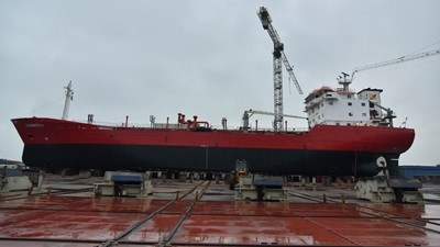 Maintenance and special survey for asphalt tanker 'Elisabeth J' at Damen Shiprepair Harlingen
