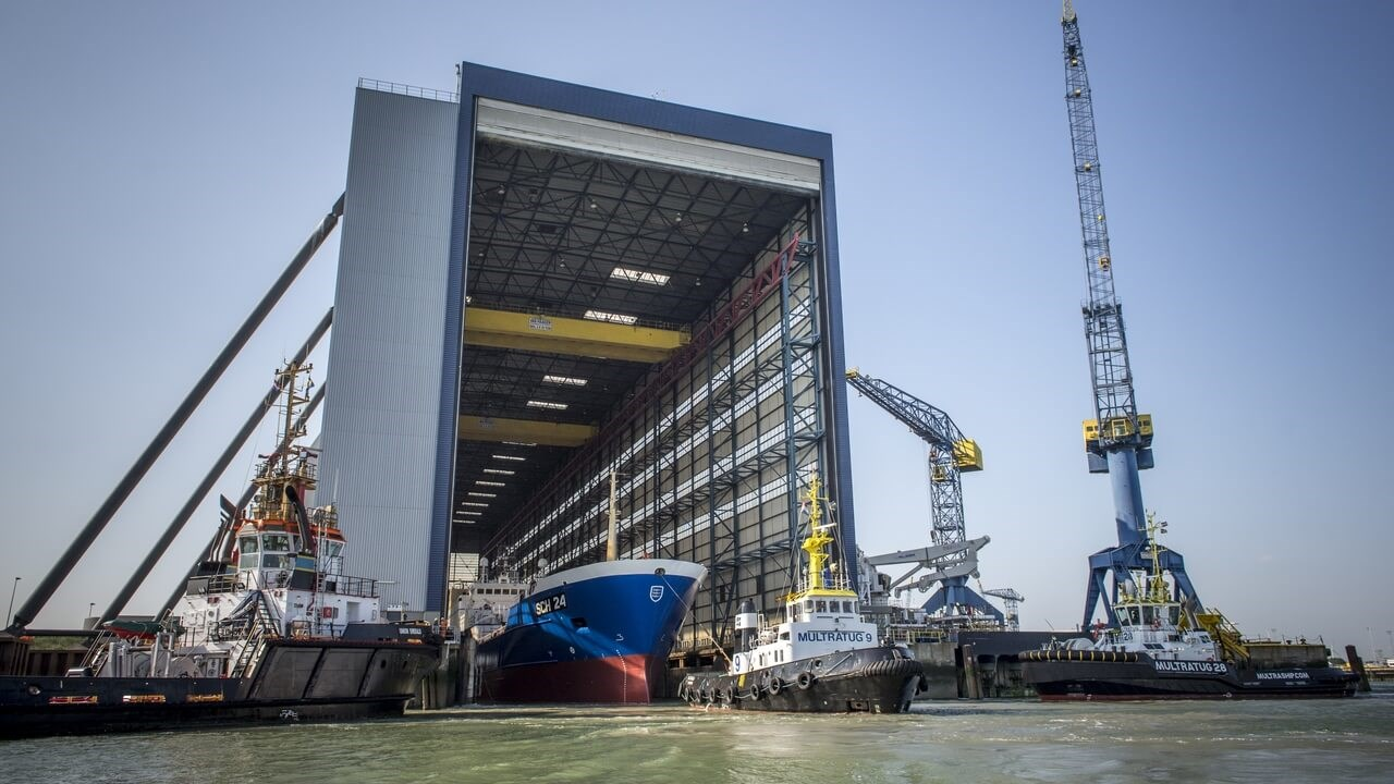 "Damen Shiprepair Vlissingen ""Afrika"" focus covered drydock"