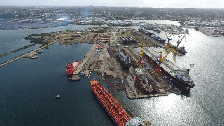 Damen Shiprepair Curaçao yard offers excellent working conditions within a natural bay.